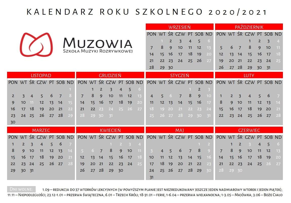 Kalendarz roku szkolnego z zaznaczonymi dniami lekcyjnymi i wolnymi.